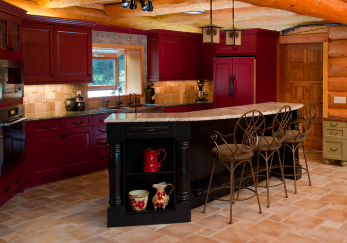 Color my kitchen lovemybrlc for Dark red kitchen cabinets