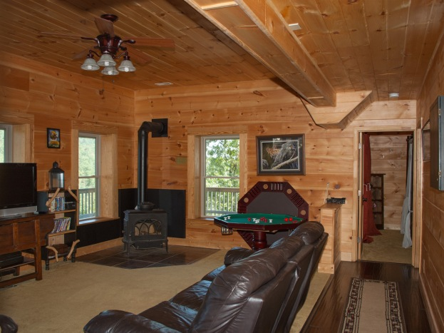 Game room with wood stove